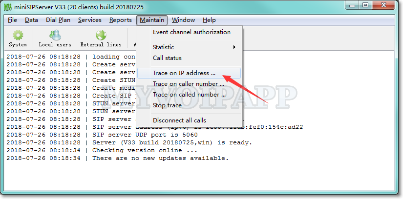 Trace on IP address