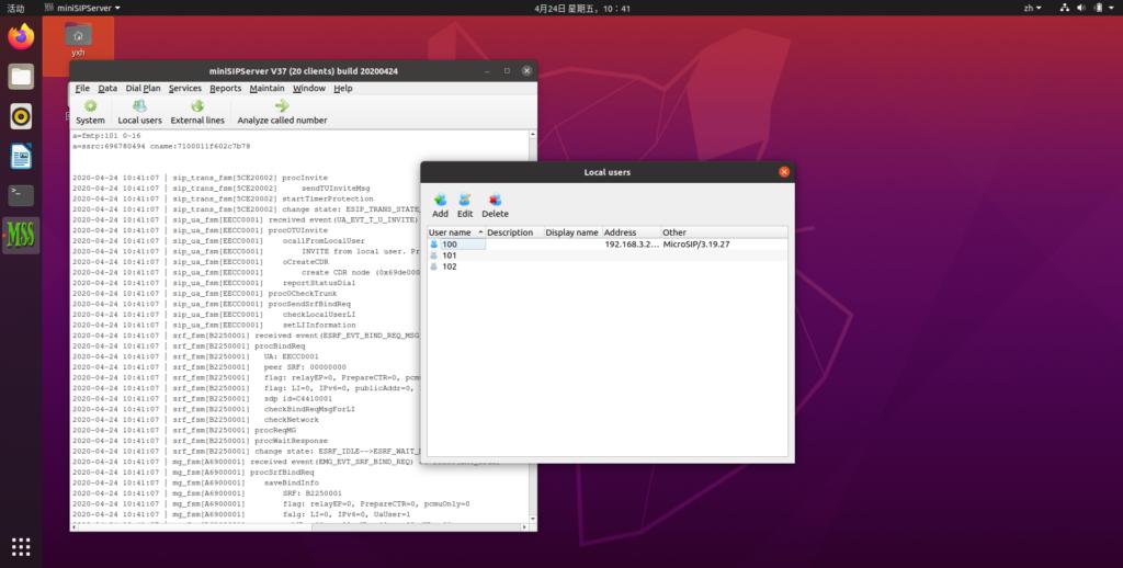 miniSIPServer on Ubuntu 20.04