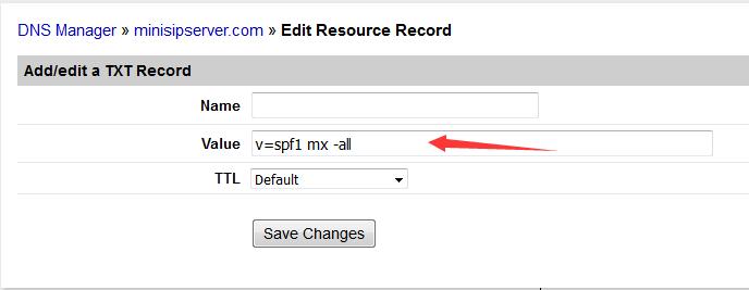 添加SPF的DNS记录