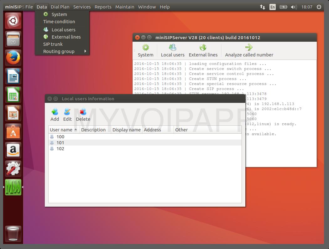 Ubuntu 16.10上的miniSIPServer