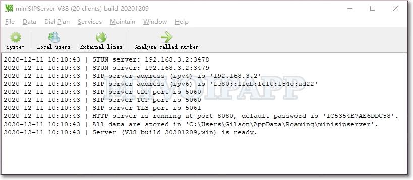miniSipServer full screenshot